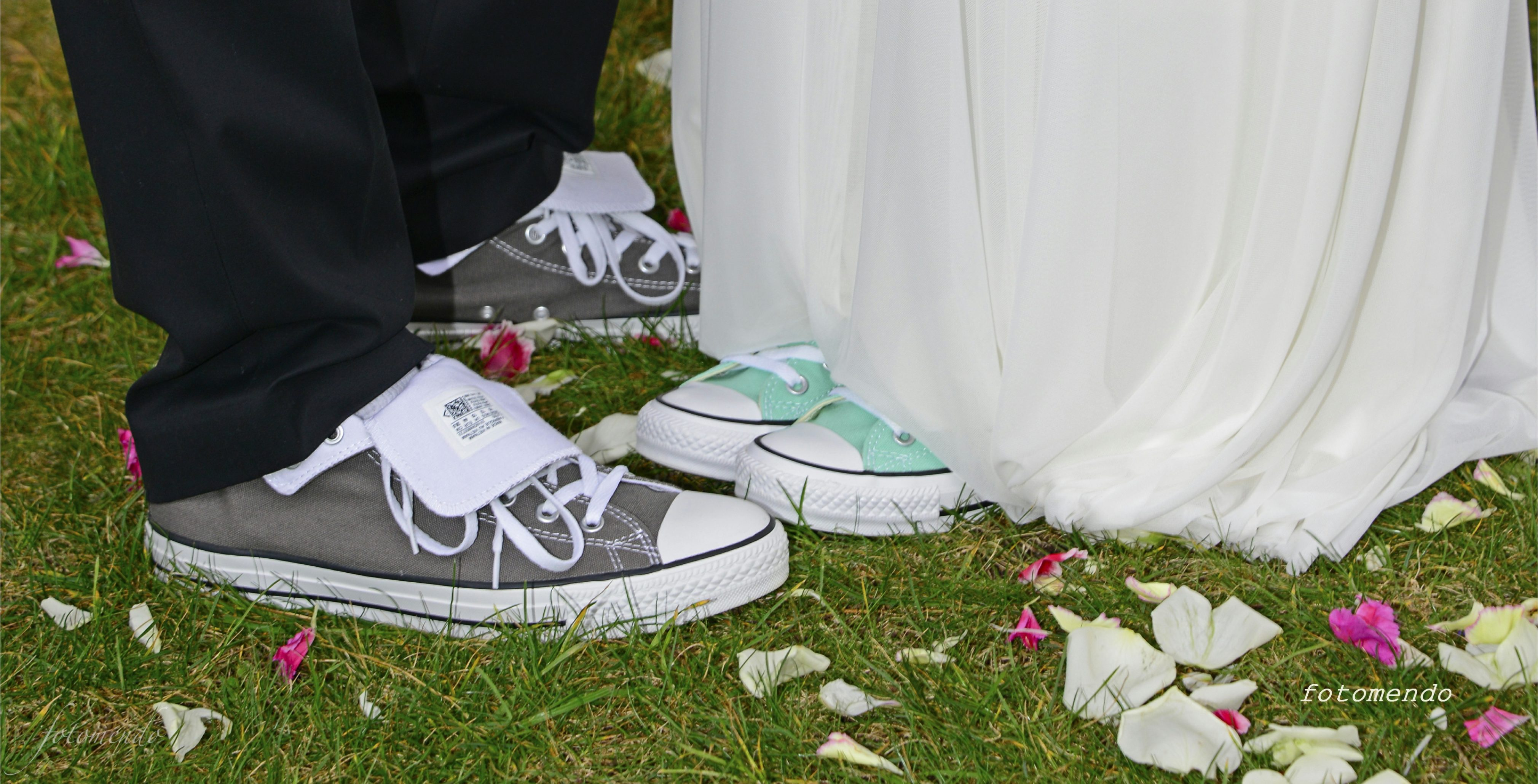 Converse sneakers complement Nicole and Brent's bridal attire for their Elope Mendocino wedding.